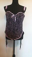 Women's Size 22/24  Lilac/Black Front Fastening & Back Lace Up Basque <LR1314