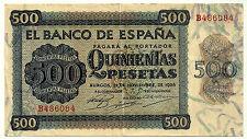 BILLETE DE 500 PESETAS DE 1936 (MBC+) BURGOS (SERIE B) PRECIOSO