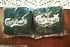 CARLSBERG  BEER GREEN SWEATBANDS WRISTBAND PAIR- 2 NEW IN PACKAGE