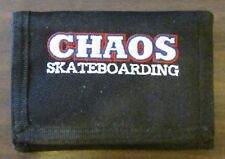 CHAOS SKATEBOARDING TRI FOLD CANVAS WALLET BLACK NEW