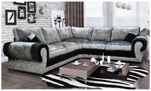 Kingsize Corner Sofa Armchair 3 2 Seater Crushed Velvet Silver Black Milan Suite