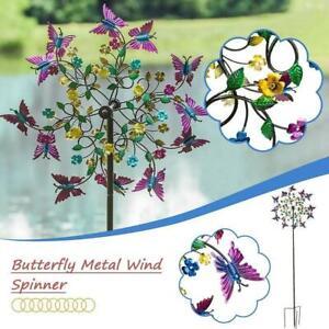 Metal Butterfly Wind Spinners Garden Windmill Outdoor Yard Lawn DecorHot
