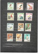 Cu. 1968,1974 - Birds - 2 sets of 7+ 5 CTO & used stamps