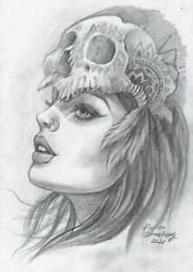 original drawing A5 27SP Modern Art samovar Graphite female portrait Signed