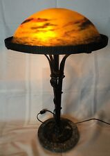 MULLER FRERES Signed French Art Deco Table Lamp 1900