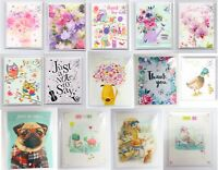 Pack of 4 Blank Just To Say / Thank You Cards by Noel Tatt - Various Designs New
