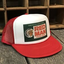 4a7ee653fff51 Red Man Chew Vintage 80 s Style Trucker Hat Snapback Red Tobacco Pouch Logo