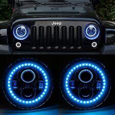 "Pair of 7"" LED Custom Headlights with BLUE Halo DRL - Jeep Wrangler JK CJ TJ"