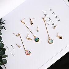 3Pcs Fashion Rhinestone Mermaid Resin Round Copper Ear Stud Earrings Jewelry Set