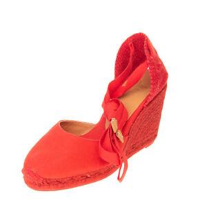 CASTANER Canvas Wedge Heel Espadrille Sandals EU37 UK4.5 US6.5 Ankle Tie Woven