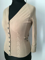 Karen Millen Camel Silver Chain Poppers Detail Dress Cardigan KM 1 8UK