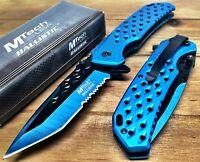 M-Tech Ballistic Spring Asst serr Tactical Pocket Knife W/Clip ALUM HANDLE- BLUE