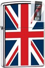 Zippo 7961 united kingdom flag high polish chrome Lighter + FLINT PACK