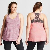 c9 Champion women's Plus Size Strappy Back Tank Top Berry/Papaya
