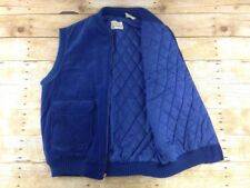 Vtg St Johns Bay Corduroy Vest Mens Large Blue Zip Up Insulated Western 70s 80s
