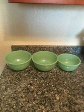 SET OF 3 FIRE KING OVEN GLASS JADEITE MIXING BOWLS SWIRL PATTERN