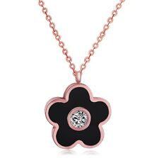 Stainless Steel 14K Rose Gold GP Four-leaf Clover Pendant Necklace Gift Box P29