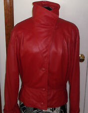 Vintage Cherry Red Italian Leather Jacket SO SOFT Lambskin 80s Italy