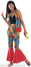 FLOWER POWER ADULT WOMANS HALLOWEEN COSTUME HIPPIE STANDARD UP TO DRESS SIZE 12