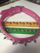 "1"" X 26"" Leather Stud & Spike Dog Collars made in the USA"