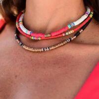 Retro Multi-Color Boho Polymer Clay Choker Necklace Beads Round Flat Beach Women