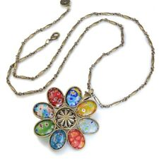 NEW SWEET ROMANCE BOLD MILLEFIORI GLASS FLOWER PENDANT NECKLACE~~MADE IN USA~