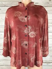 Made In Heaven Large Floral Slinky Travel Stretch Knit Button Down Blouse c7