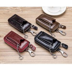 Men's Zip Around 6 Hook Key Case Car Key Holder Wallet with Outer Pocket