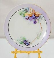 """Vintage Grapevine Hand Painted 6 3/4"""" Plate Signed """"Laring"""" Soft Lavender Berry"""