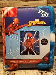 "MARVEL SPIDERMAN KIDS 40""X 50"" SUPER SOFT SILKY THROW BLANKET NEW"