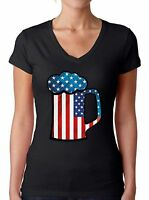 Beer USA Flag Women's V-neck T shirts Shirts Tops 4th Of July Gifts Beer Lovers