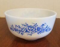 VINTAGE FEDERAL White MILK GLASS BOWL BLUE Flowers ROSE HEAT PROOF 2 1/2 Qt.