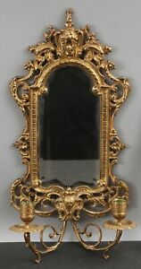 Antique Victorian Gothic Dore Gilt Bronze Beveled Glass Mirror Candle Sconce