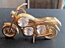 24kt Gold Plated Australian Crystal Motorcycle Ornament Collectible Harley GUC