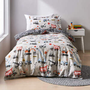 Construction Reversible Quilt Cover Set-Single Bed Grey To Add A Quirky Touch T1