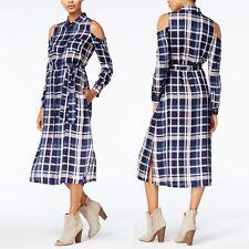 Maison Jules L Large Dress Womens NWT Blue Plaid Rayon Cold Shoulder Shirt Dress