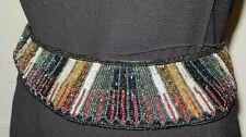 La Regale Vintage Black Iridescent Beaded Belt Black Multi Color Belt S-M