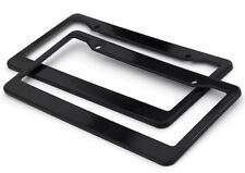 2pc Black Plastic License Plate Frame Tag Cover for Car SUV Van Truck - D