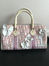 Authentic Vintage Christian Dior Pink Girly Flower Boston Handbag
