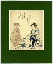 Japanese Antique Print-JAPANESE LADY-WOODWORKING TOOLS-KNIFE-FAN-Eishi-c.1815