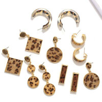 Fashion Women Leopard Skin Geometric Statement Dangle Drop Earrings Jewelry Gift