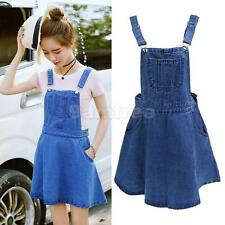 Summer Women Jean Demin Suspender Skirt Adjustable Strap Overall Pinafore Dress