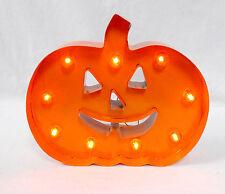 Light Up LED Pumpkin Jack O Lantern Orange Metal Marquee Sign Halloween Decorat