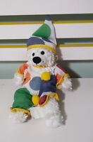 BEAR WORKS PLUSH TOY SOFT TOY DRESSED IN CLOWN OUTFIT ABOUT 27CM !