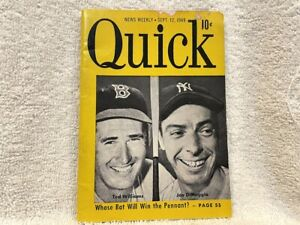 VINTAGE September 1949 QUICK Magazine, Ted Williams Joe DiMaggio Cover, RARE!