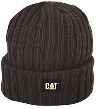 Mens CAT Caterpillar Rib Watch Cap Beanie Workwear Knit Hat Black