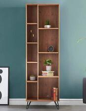 Retro Bookcase Freestanding Tall Unit Open Storage Organiser Scandi Shelving NEW