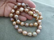 """Beautiful Finished Necklace - Baroque Bead Nucleated Furrow Pearls, 17"""""""