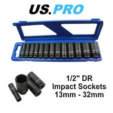 US PRO 13pc 1/2 dr 6pt Deep Impact Sockets Metric 13 - 32mm 1397
