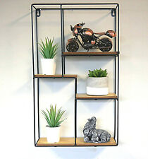 Modern Large Square Floating Wall Unit Retro Wood Industrial Style Metal Shelf